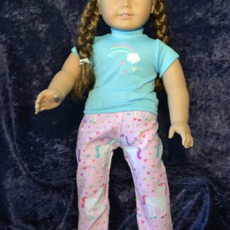 Pink Unicorn Print PJ-Aqua tee for 18 Inch Dolls