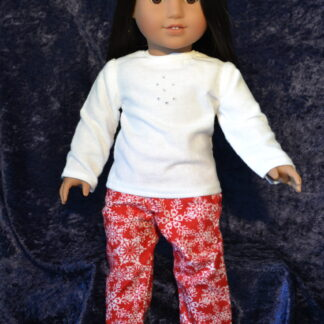 Red Snowflake Print PJ set for 18 Inch Dolls