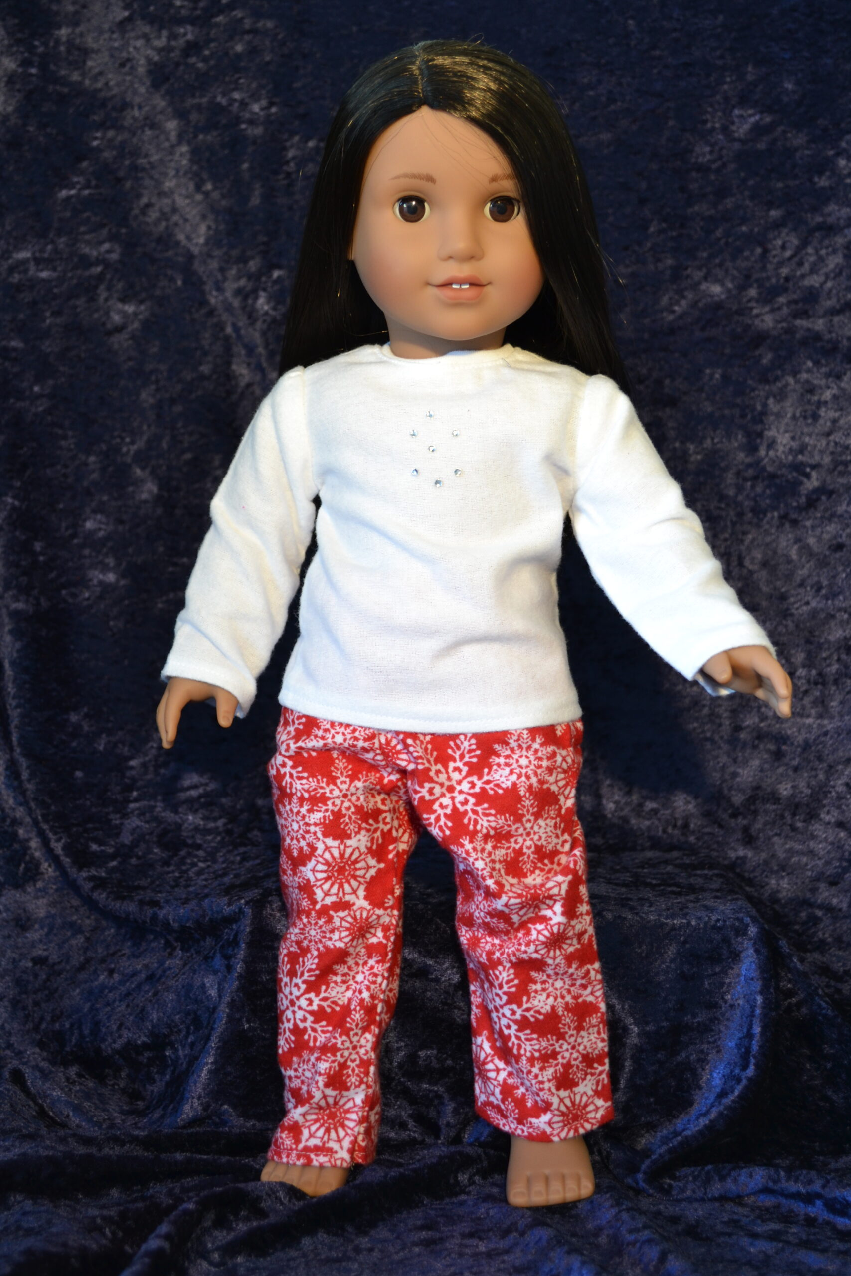 Red Snowflake Print PJ set for 18 Inch Dolls