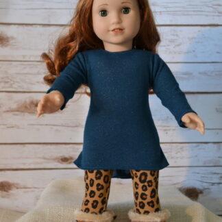 Teal Glitter Tunic-Cheetah Leggings