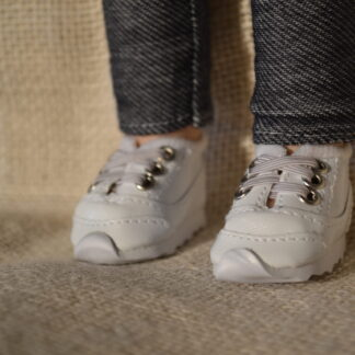 White No-Tie Sneakers-Wellie Wisher